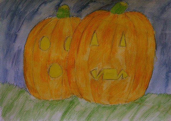 watercolor Jack O'Lanterns